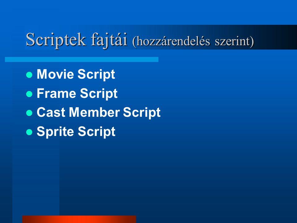 Külső objektumok használata Külső objektum lehet: –Kép, szöveg, video, script, egyéb… Hozzárendelés a mozihoz: 1.Importáláskor (Link to External file) 2.Utasítás(ok) segítségével –Példa: member(1).filename= proba.html