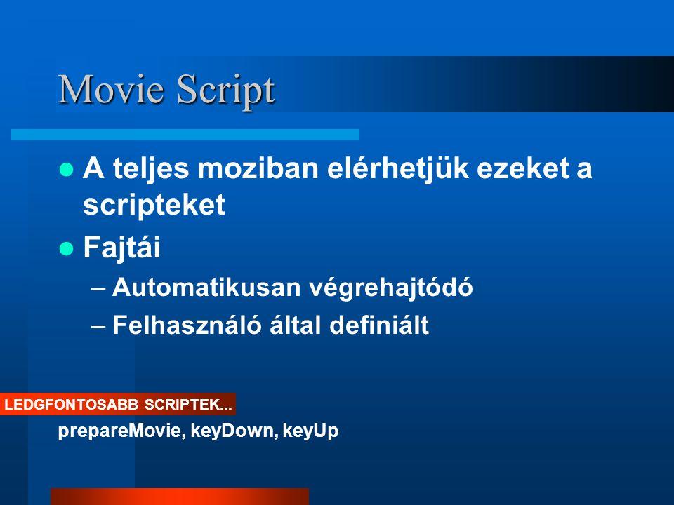 Pozícionálása a színpadon Sprite-ok pozícionálása locH, locV, width, height Egér pozícionálása mouseH,mouseV Színpad / ablak pozícionálása rect