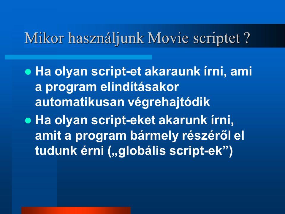 Frame script Egy, vagy több frame-hez is tartozhat script Csak addig lehet elérni, ameddig az adott frame(eke)t játszuk le Fajtái –Automatikusan végrehajtódó –Felhasználó által definiált (ritkább) LEGFONTOSABB SCRIPTEK...