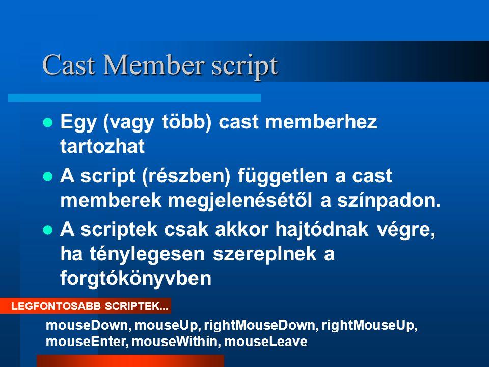 Cast Member script Egy (vagy több) cast memberhez tartozhat A script (részben) független a cast memberek megjelenésétől a színpadon.