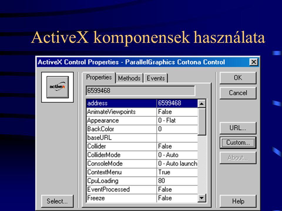 ActiveX komponensek használata