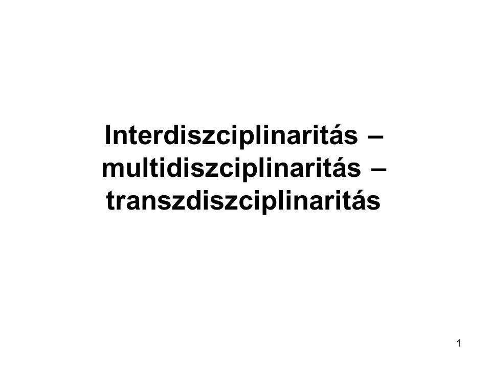 1 Interdiszciplinaritás – multidiszciplinaritás – transzdiszciplinaritás