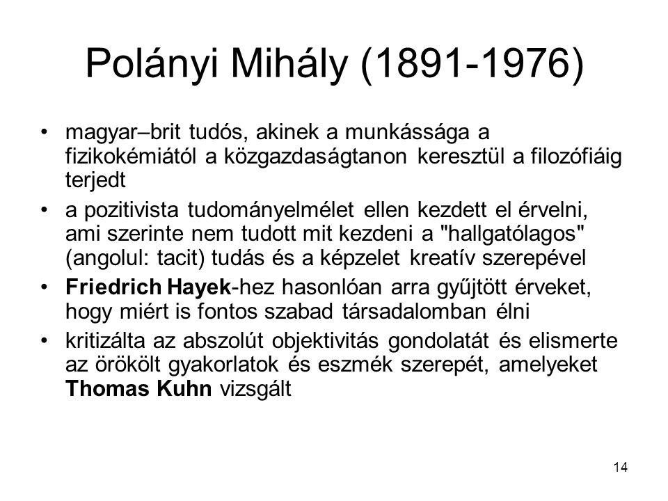 14 Polányi Mihály (1891-1976) magyar–brit tudós, akinek a munkássága a fizikokémiától a közgazdaságtanon keresztül a filozófiáig terjedt a pozitivista