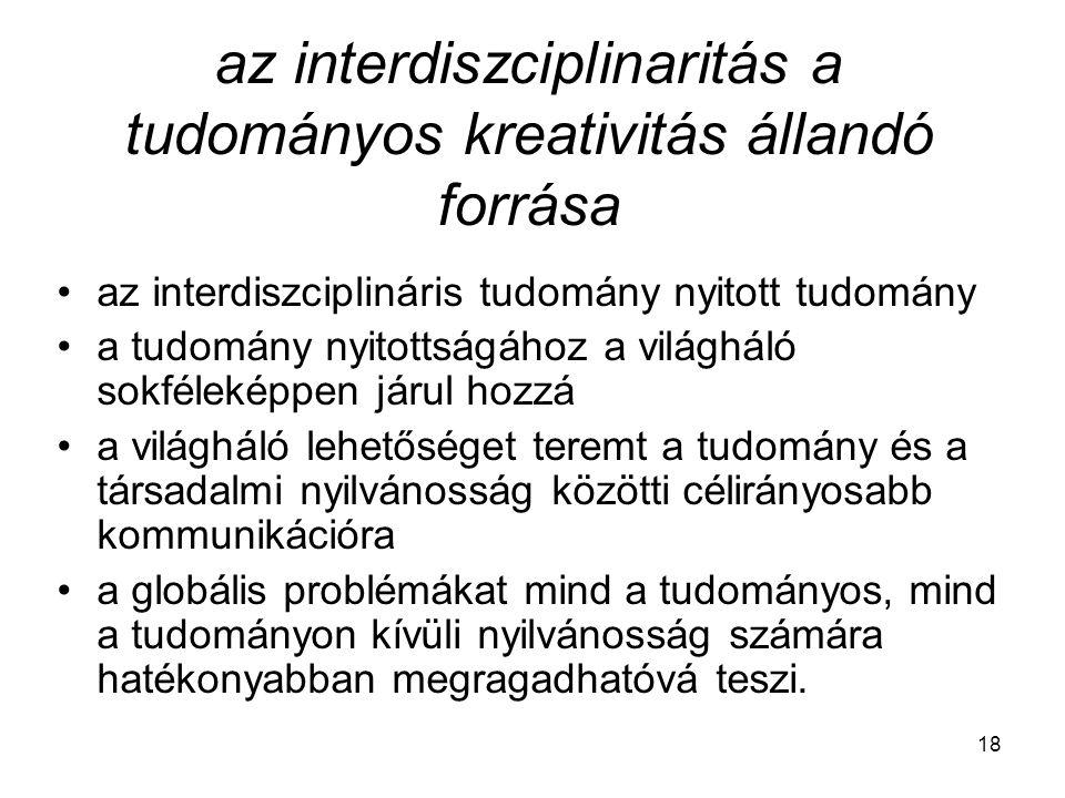 18 az interdiszciplinaritás a tudományos kreativitás állandó forrása az interdiszciplináris tudomány nyitott tudomány a tudomány nyitottságához a vilá