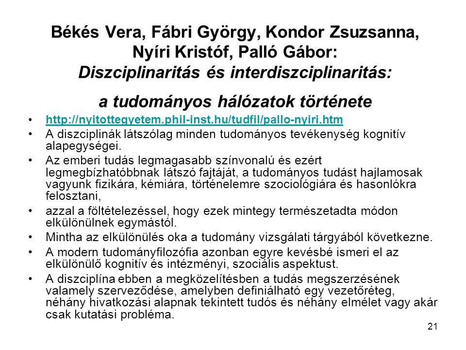 21 Békés Vera, Fábri György, Kondor Zsuzsanna, Nyíri Kristóf, Palló Gábor: Diszciplinaritás és interdiszciplinaritás: a tudományos hálózatok története