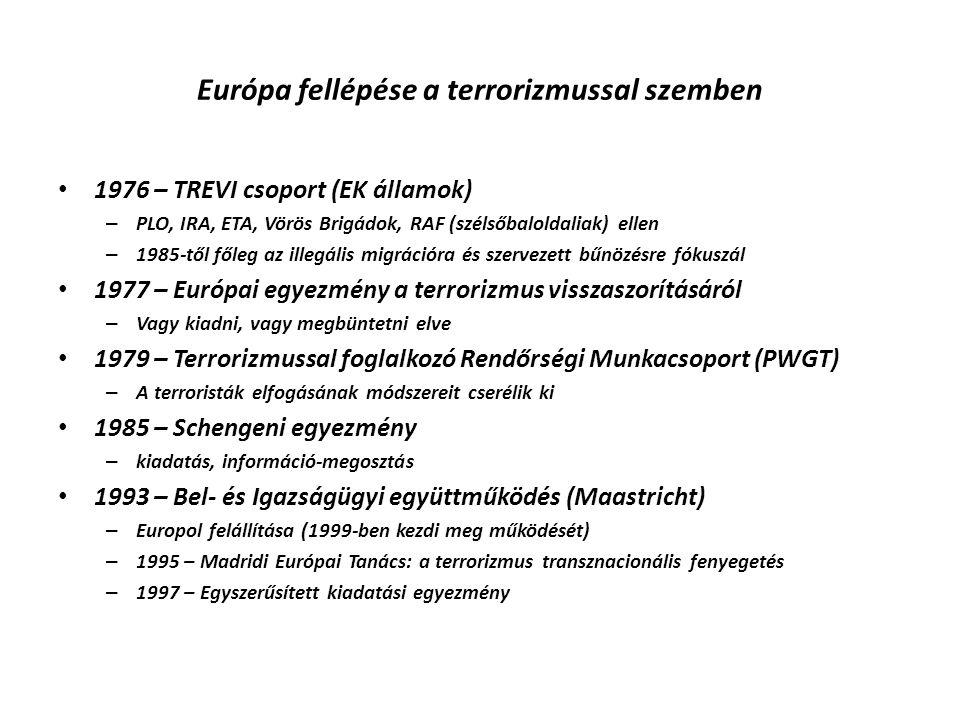 Európa fellépése a terrorizmussal szemben 1976 – TREVI csoport (EK államok) – PLO, IRA, ETA, Vörös Brigádok, RAF (szélsőbaloldaliak) ellen – 1985-től
