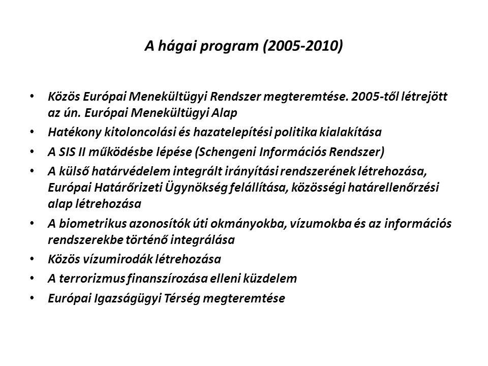 A hágai program (2005-2010) Közös Európai Menekültügyi Rendszer megteremtése. 2005-től létrejött az ún. Európai Menekültügyi Alap Hatékony kitoloncolá
