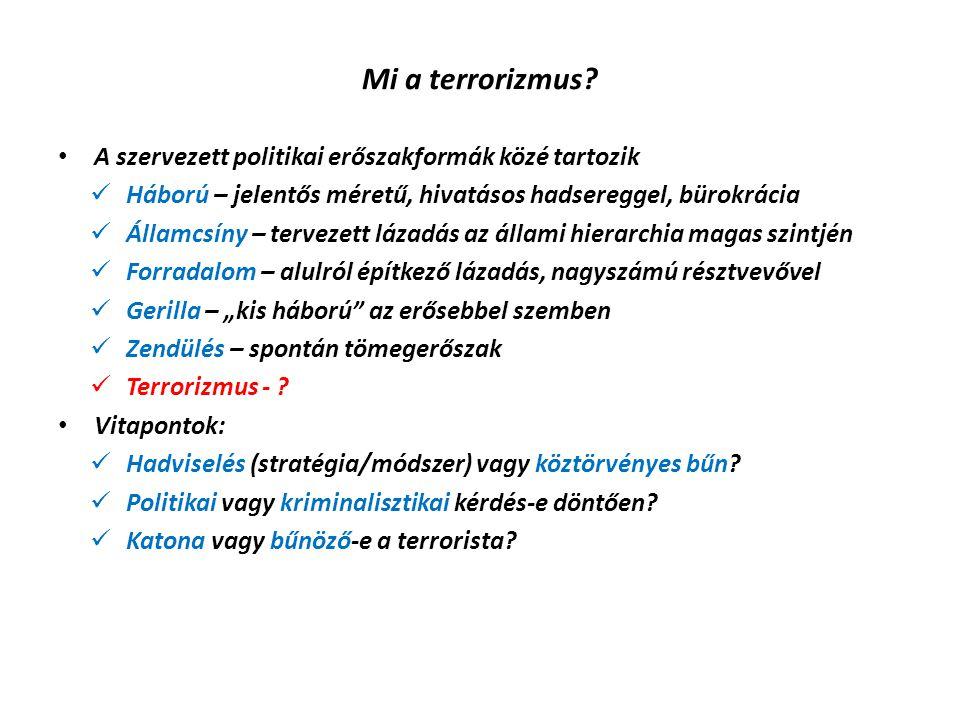 Mi a terrorizmus? A szervezett politikai erőszakformák közé tartozik Háború – jelentős méretű, hivatásos hadsereggel, bürokrácia Államcsíny – tervezet
