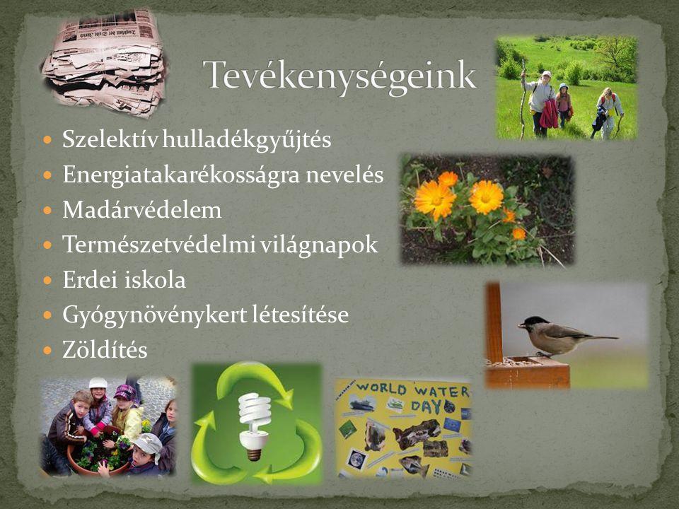 Szelektív hulladékgyűjtés Energiatakarékosságra nevelés Madárvédelem Természetvédelmi világnapok Erdei iskola Gyógynövénykert létesítése Zöldítés