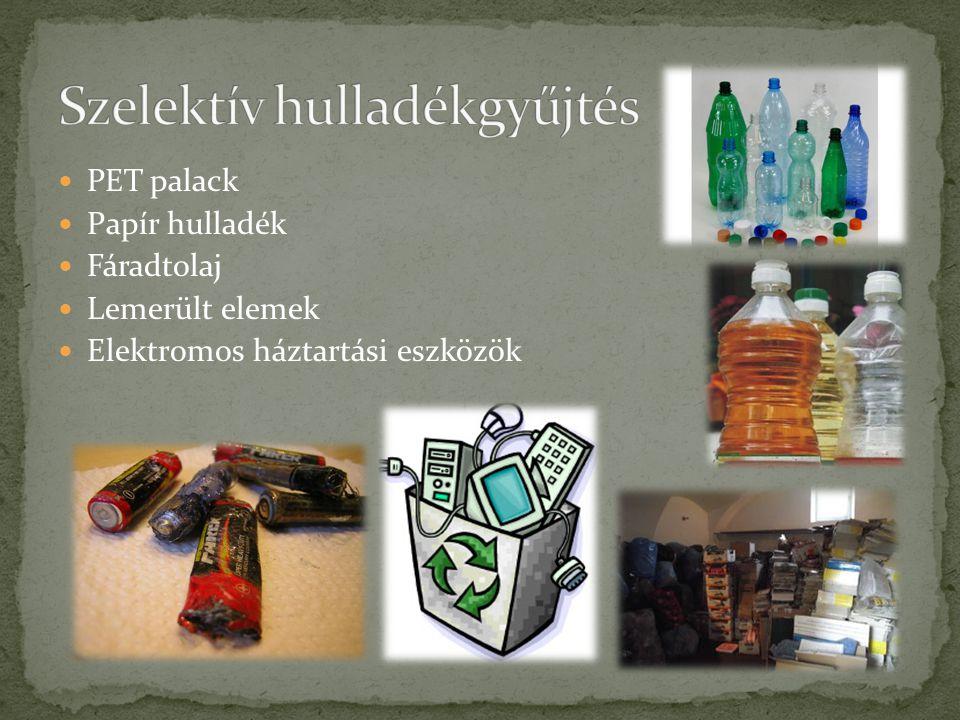PET palack Papír hulladék Fáradtolaj Lemerült elemek Elektromos háztartási eszközök