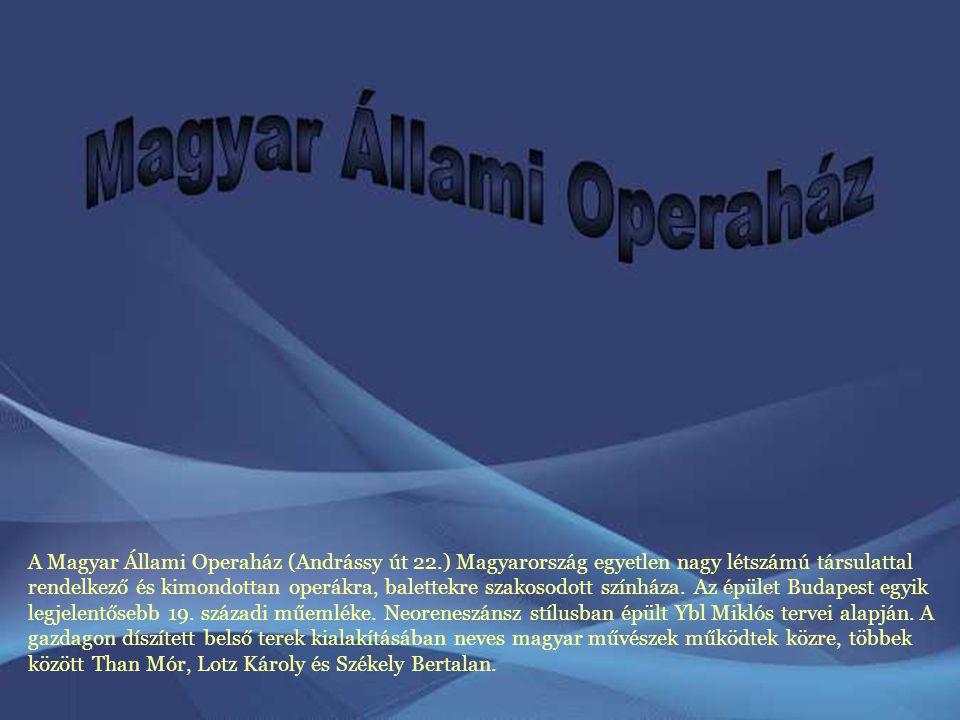 A Magyar Állami Operaház (Andrássy út 22.) Magyarország egyetlen nagy létszámú társulattal rendelkező és kimondottan operákra, balettekre szakosodott