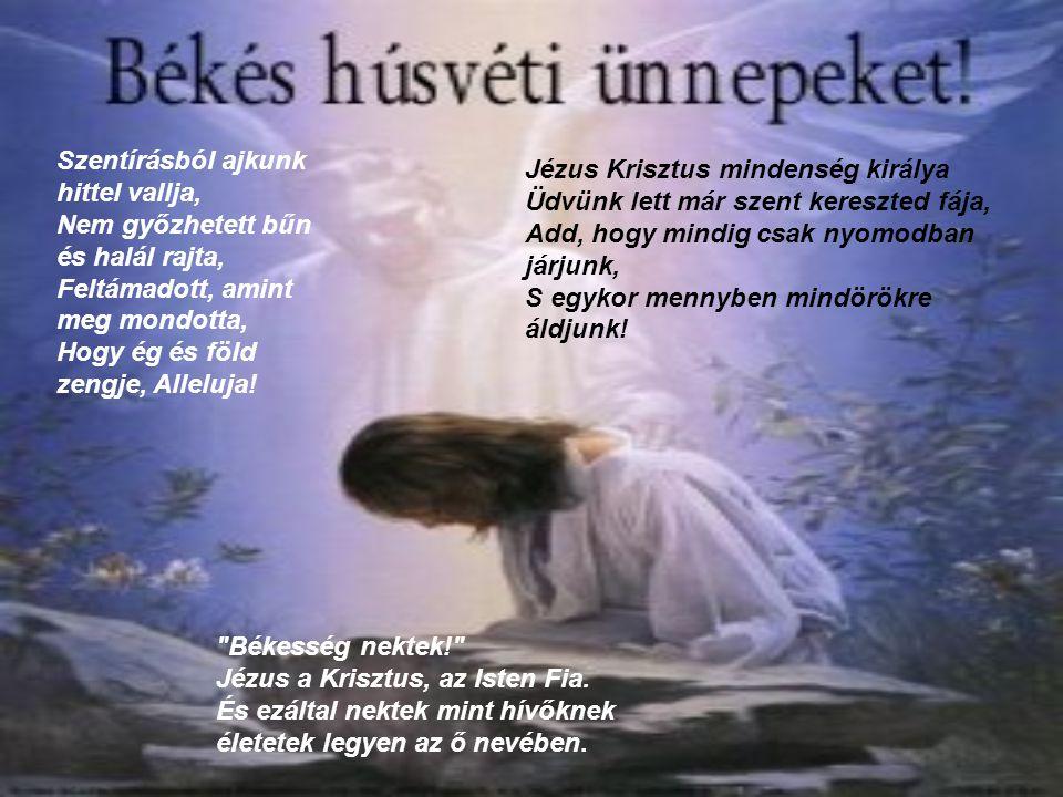Szentírásból ajkunk hittel vallja, Nem győzhetett bűn és halál rajta, Feltámadott, amint meg mondotta, Hogy ég és föld zengje, Alleluja! Jézus Krisztu