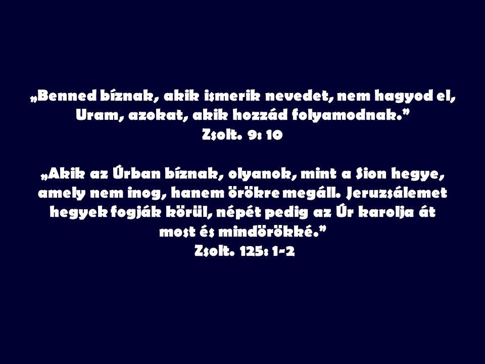 """""""Benned bíznak, akik ismerik nevedet, nem hagyod el, Uram, azokat, akik hozzád folyamodnak. Zsolt."""