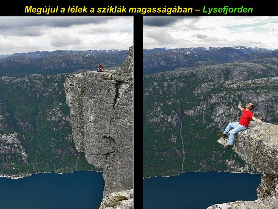 A Kjer szikla, 818m-rel a Lysefjorden fölött – Kjeragbolten