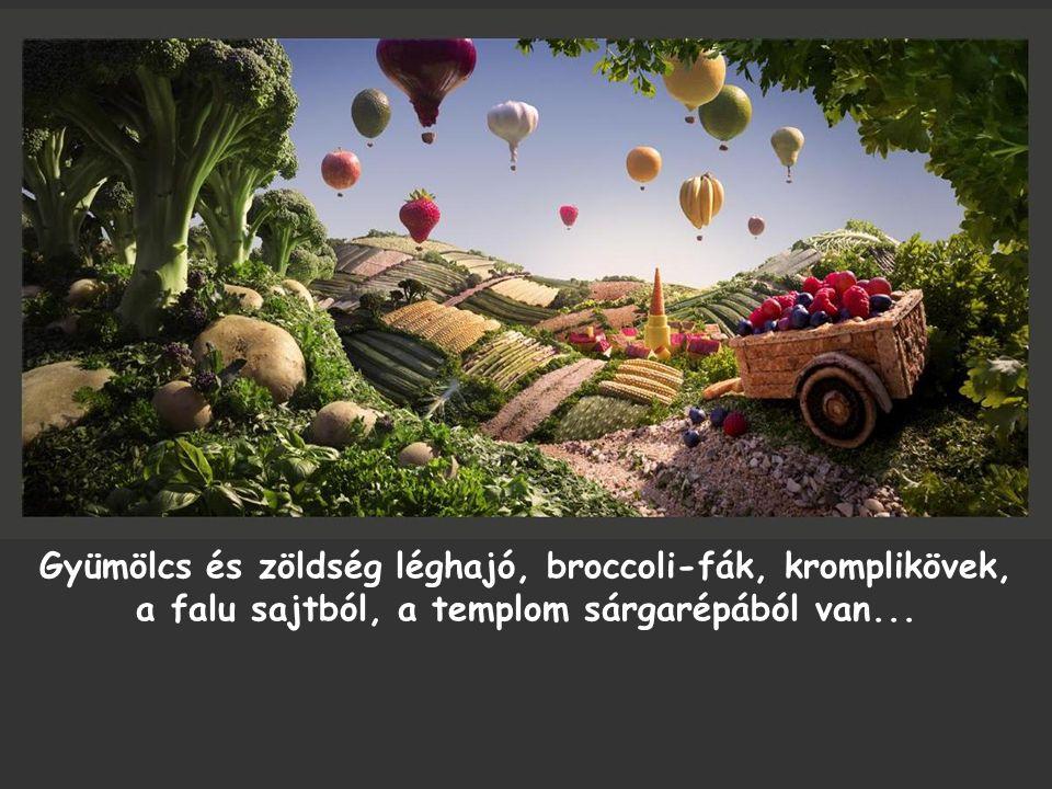 Gyümölcs és zöldség léghajó, broccoli-fák, kromplikövek, a falu sajtból, a templom sárgarépából van...