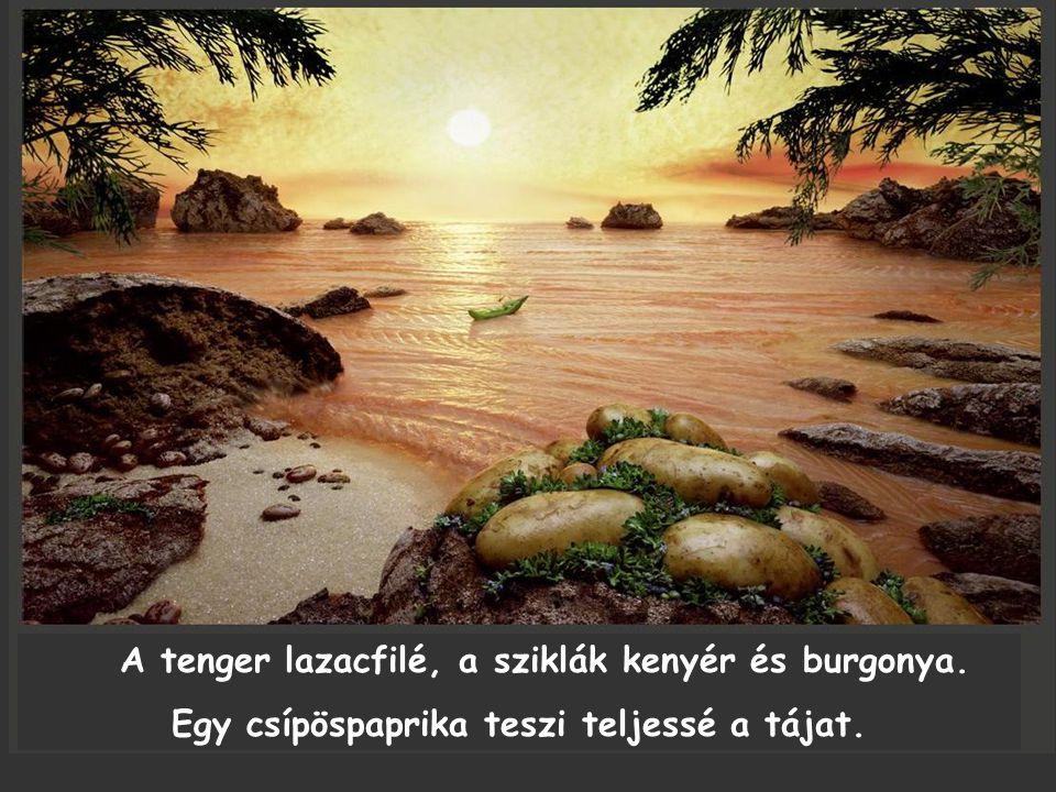 A tenger lazacfilé, a sziklák kenyér és burgonya. Egy csípöspaprika teszi teljessé a tájat.