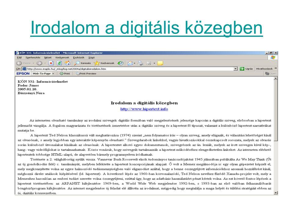 Irodalom a digitális közegben