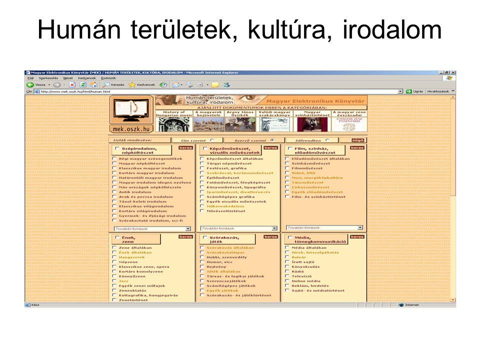 Elektronikus folyóiratok Elektronikus Periodika Archívum és Adatbázis http://www.epa.hu/ Az Elektronikus Periodika Archívum és Adatbázis a Magyar Elektronikus Könyvtár kezdeményezése, mely a magyar vonatkozású elektronikus időszaki kiadványok könyvtári igényű nyilvántartására, illetve egyes folyóiratok archiválására irányul.