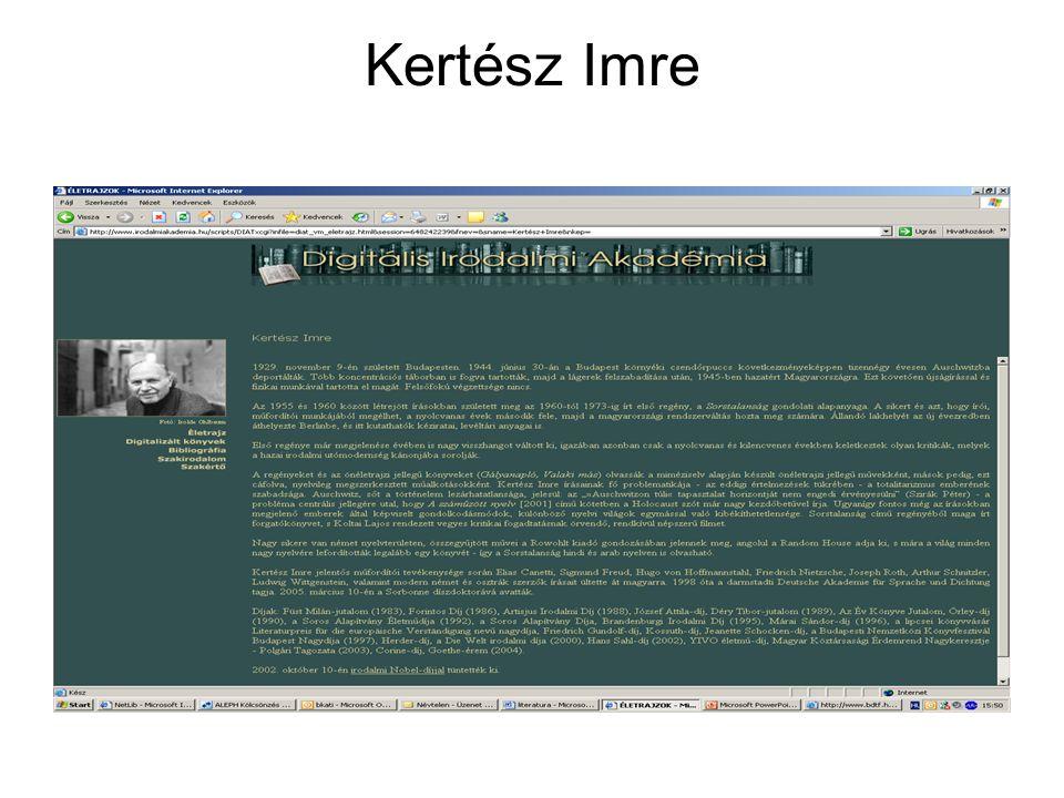 Literatura.hu Lásd: Irodalomtörténet Irodalmi Nobe-díj
