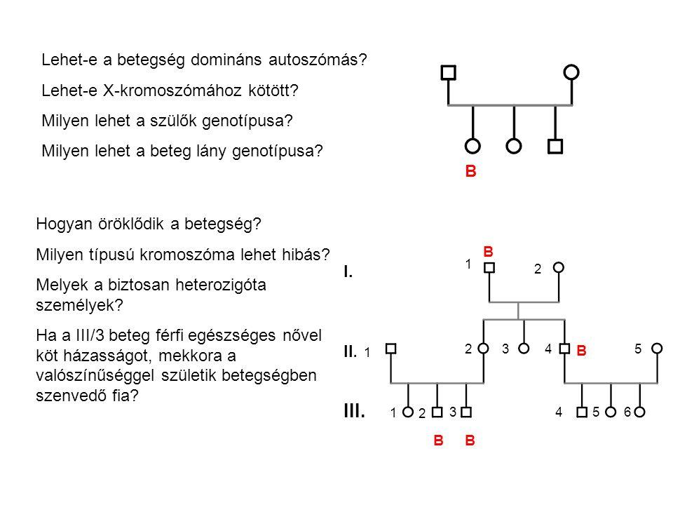 Lehet-e a betegség domináns autoszómás.Lehet-e X-kromoszómához kötött.