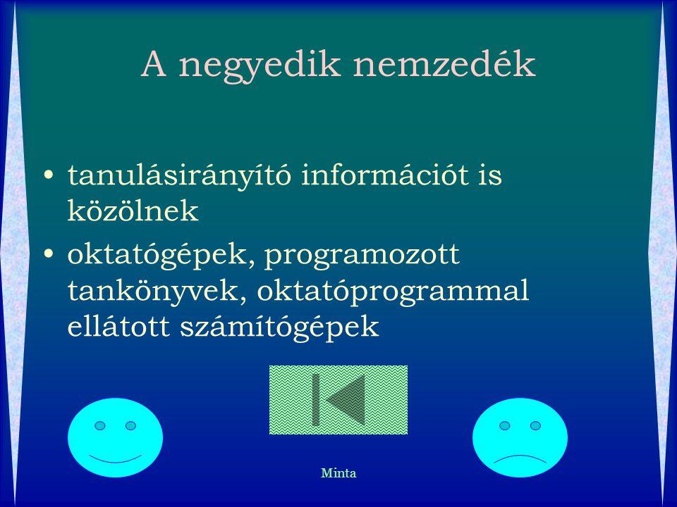 Minta A negyedik nemzedék tanulásirányító információt is közölnek oktatógépek, programozott tankönyvek, oktatóprogrammal ellátott számítógépek