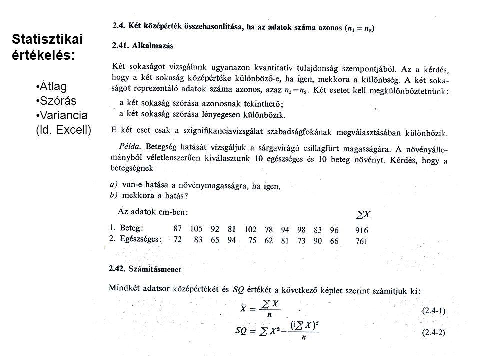 Statisztikai értékelés: Átlag Szórás Variancia (ld. Excell)