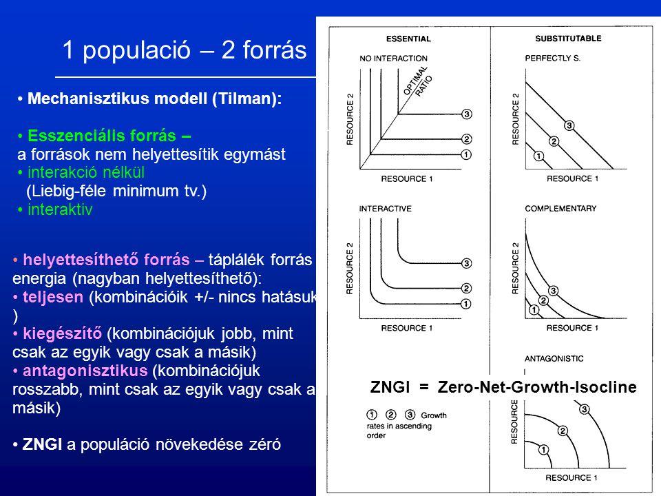 1 populació – 2 forrás Mechanisztikus modell (Tilman): Esszenciális forrás – a források nem helyettesítik egymást interakció nélkül (Liebig-féle minimum tv.) interaktiv = Zero-Net-Growth-IsoclineZNGI helyettesíthető forrás – táplálék forrás energia (nagyban helyettesíthető): teljesen (kombinációik +/- nincs hatásuk ) kiegészítő (kombinációjuk jobb, mint csak az egyik vagy csak a másik) antagonisztikus (kombinációjuk rosszabb, mint csak az egyik vagy csak a másik) ZNGI a populáció növekedése zéró