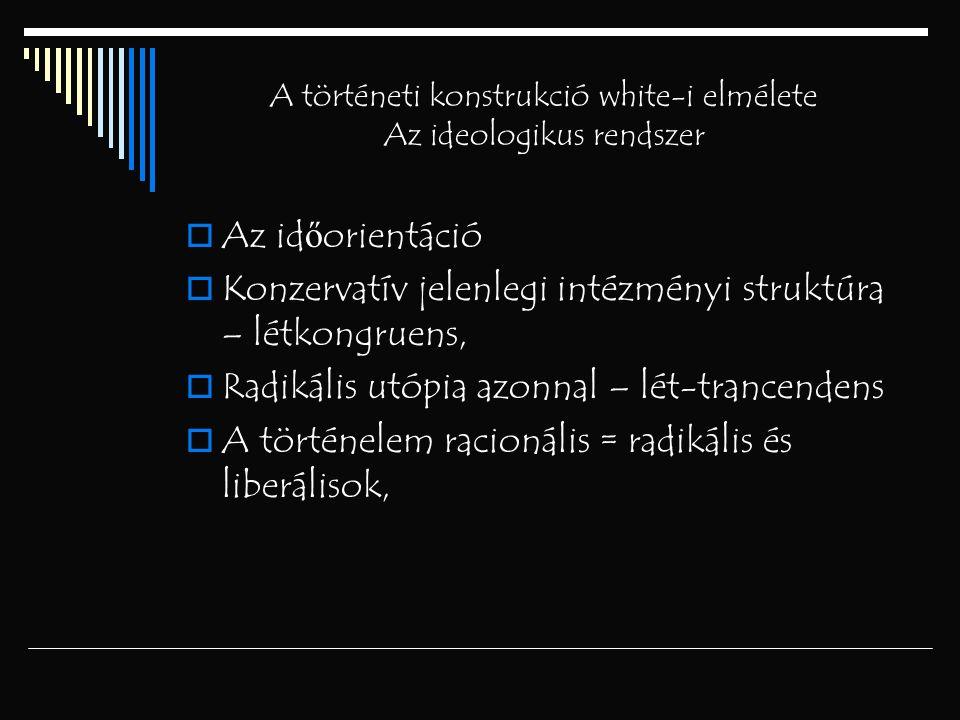 A történeti konstrukció white-i elmélete Az ideologikus rendszer  Az id ő orientáció  Konzervatív jelenlegi intézményi struktúra – létkongruens,  R