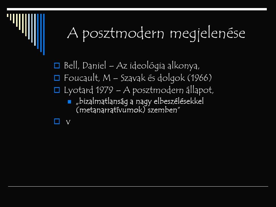 """A posztmodern megjelenése  Bell, Daniel – Az ideológia alkonya,  Foucault, M – Szavak és dolgok (1966)  Lyotard 1979 – A posztmodern állapot, """"biza"""