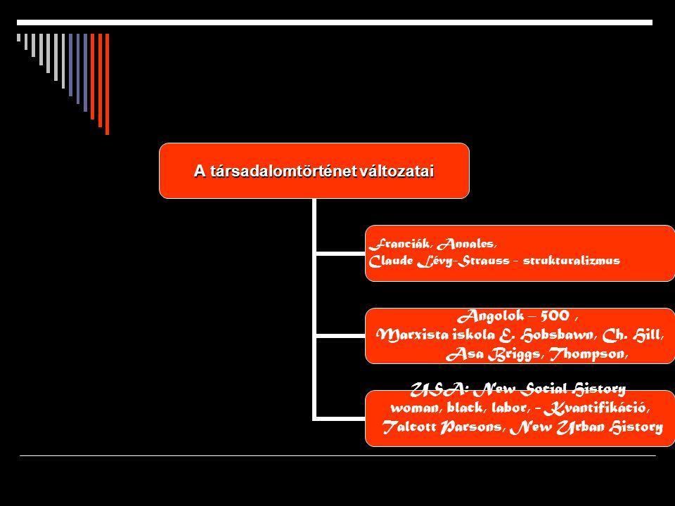 A társadalomtörténet változatai Franciák, Annales, Claude Lévy-Strauss - strukturalizmus Angolok – 500, Marxista iskola E.