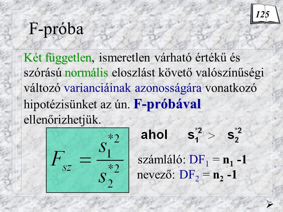 F-próba Két független normális F-próbával Két független, ismeretlen várható értékű és szórású normális eloszlást követő valószínűségi változó varianciáinak azonosságára vonatkozó hipotézisünket az ún.