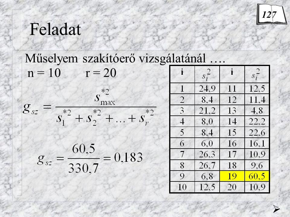 Feladat Műselyem szakítóerő vizsgálatánál …. n = 10r = 20  127