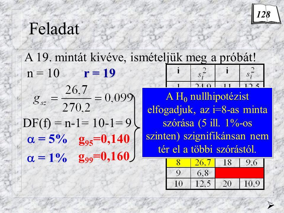 Feladat A 19. mintát kivéve, ismételjük meg a próbát! n = 10r = 19  DF(f) = n-1= 10-1= 9  = 5%  = 1% g 95 =0,140 g 99 =0,160 A H 0 nullhipotézist e