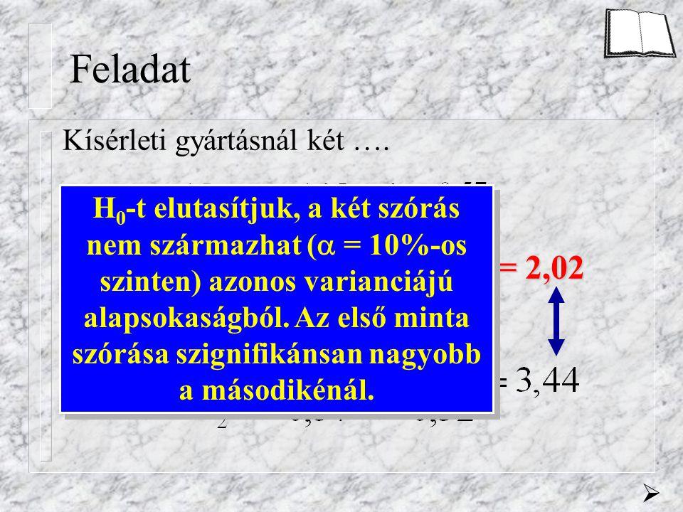 Feladat Kísérleti gyártásnál két …. n 1 = n 2 = 15 f 1 = f 2 = 15-1 = 14  = 10% F krit = 2,02 H 0 -t elutasítjuk, a két szórás nem származhat (  = 1