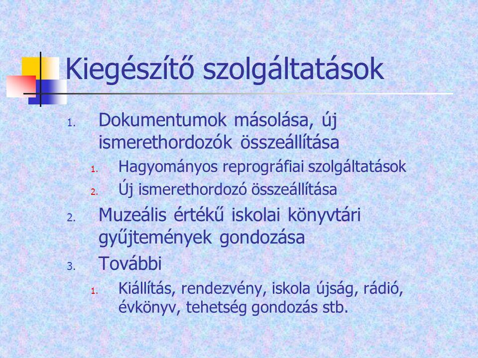 Kiegészítő szolgáltatások 1. Dokumentumok másolása, új ismerethordozók összeállítása 1. Hagyományos reprográfiai szolgáltatások 2. Új ismerethordozó ö