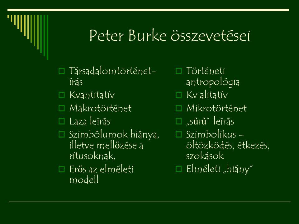 Peter Burke összevetései  Társadalomtörténet- írás  Kvantitatív  Makrotörténet  Laza leírás  Szimbólumok hiánya, illetve mell ő zése a rítusoknak