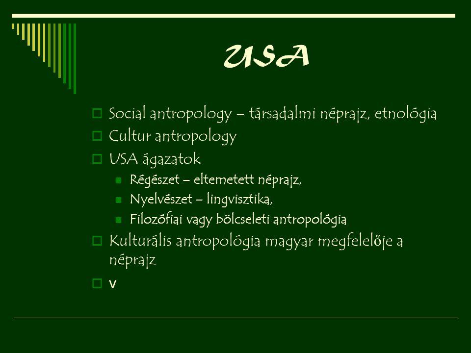 USA  Social antropology – társadalmi néprajz, etnológia  Cultur antropology  USA ágazatok Régészet – eltemetett néprajz, Nyelvészet – lingvisztika,