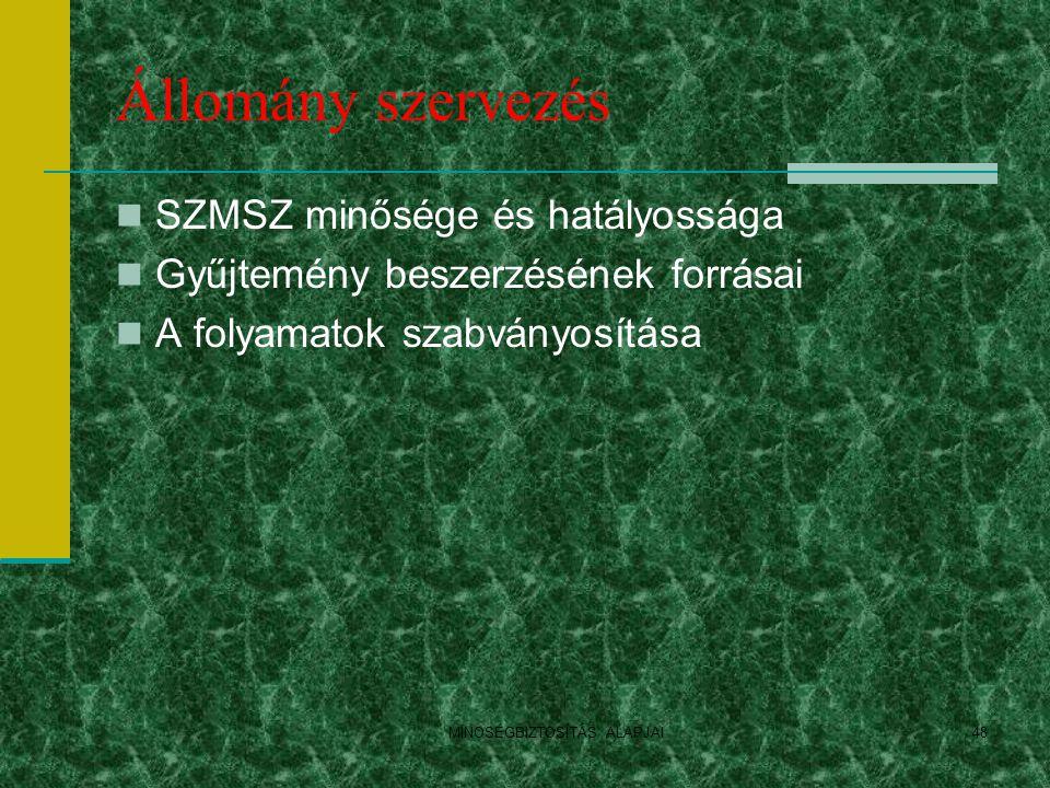 Állomány szervezés SZMSZ minősége és hatályossága Gyűjtemény beszerzésének forrásai A folyamatok szabványosítása MINOSÉGBIZTOSÍTÁS ALAPJAI48