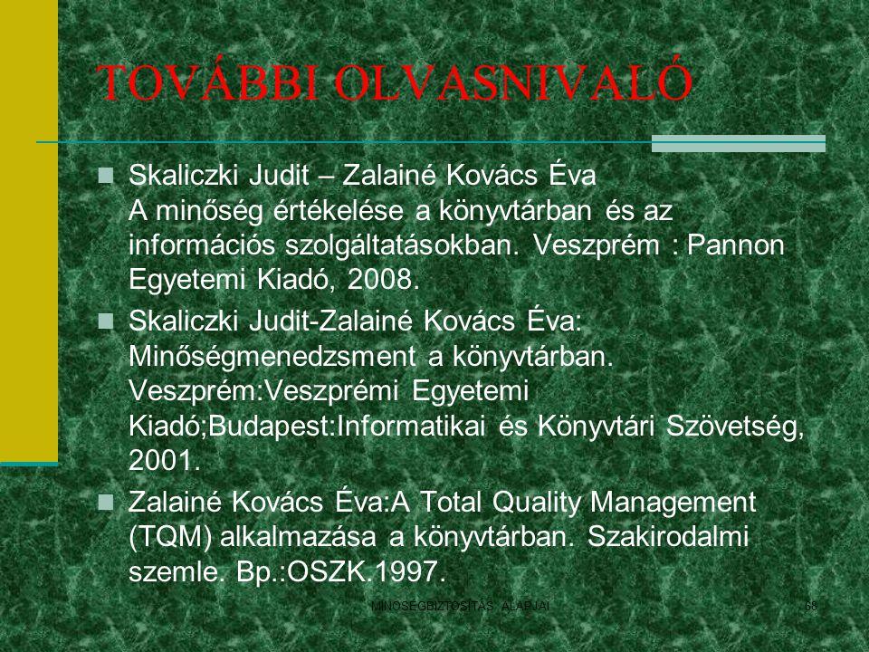 MINOSÉGBIZTOSÍTÁS ALAPJAI68 TOVÁBBI OLVASNIVALÓ Skaliczki Judit – Zalainé Kovács Éva A minőség értékelése a könyvtárban és az információs szolgáltatás