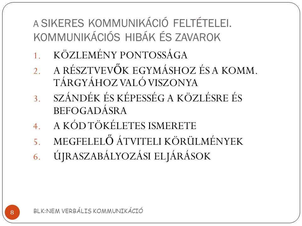 A SIKERES KOMMUNIKÁCIÓ FELTÉTELEI.