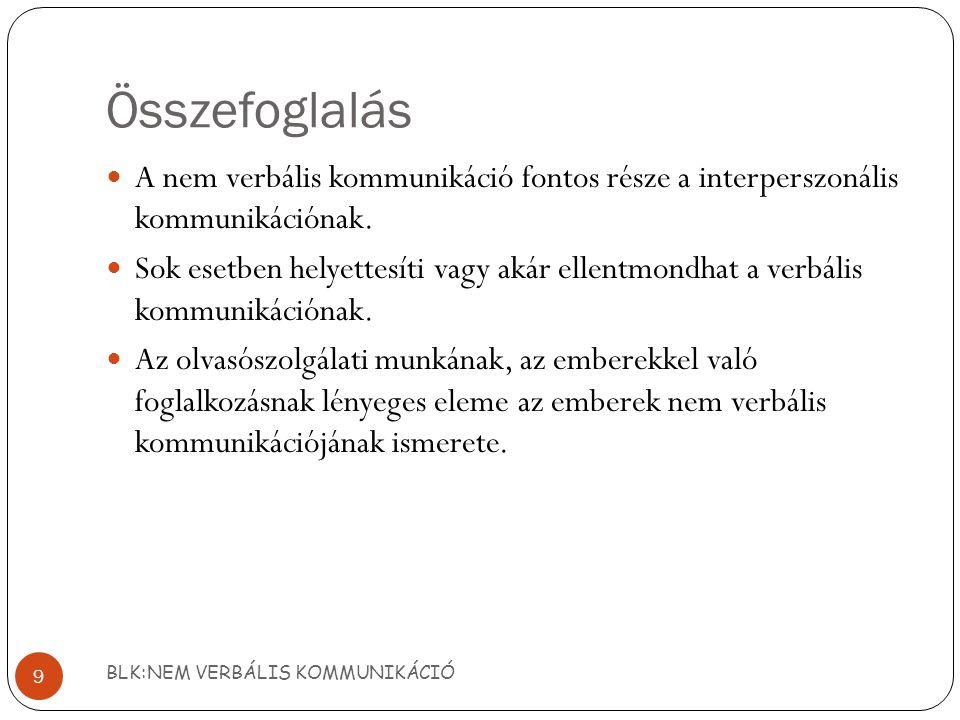 Összefoglalás A nem verbális kommunikáció fontos része a interperszonális kommunikációnak.