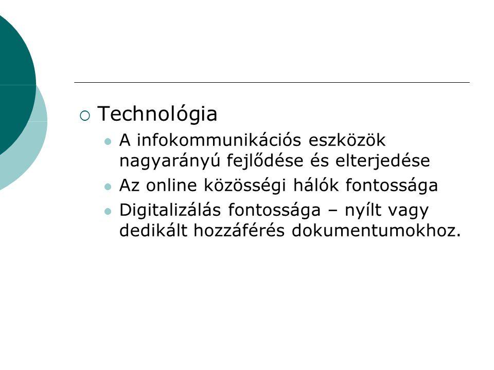  Technológia A infokommunikációs eszközök nagyarányú fejlődése és elterjedése Az online közösségi hálók fontossága Digitalizálás fontossága – nyílt vagy dedikált hozzáférés dokumentumokhoz.