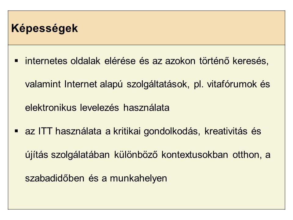 Képességek  internetes oldalak elérése és az azokon történő keresés, valamint Internet alapú szolgáltatások, pl. vitafórumok és elektronikus levelezé
