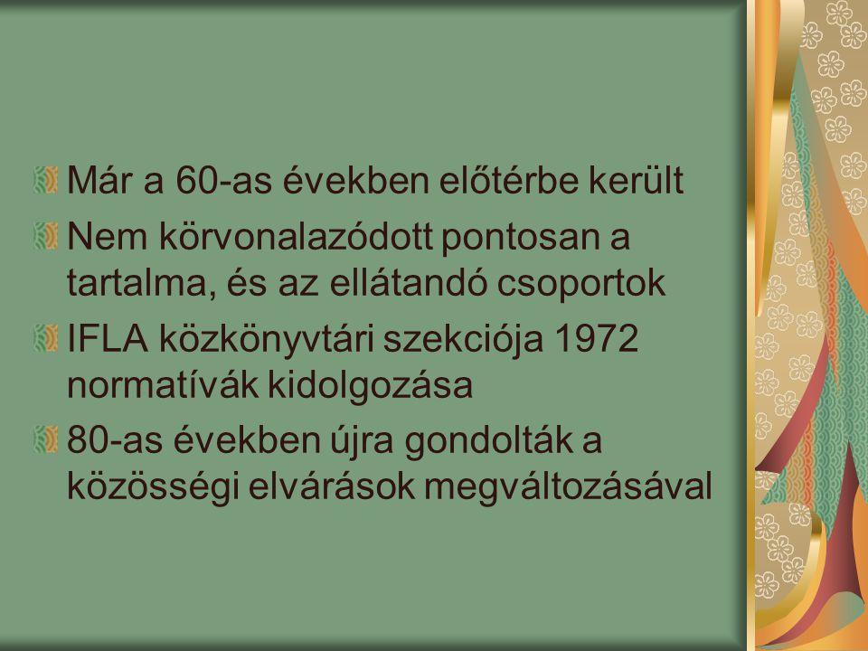 Angolszász szakirodalom – hátrányos helyzetűek (people with disabilities) Német szakirodalom – szociális könyvtári munka Törvények és jogszabályok a hátrányos helyzetűek jogairól ENSZ – Fogyatékos Személyek Jogainak Deklarációja – 1975, ENSZ világprogram 1983 1990 – Americans with Disabilities Act (ADA) 1992 – ALA irányelvek