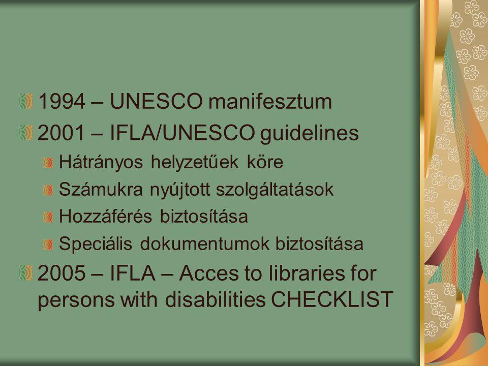 Magyar könyvtári stratégia 2003-2007 Kiemelt figyelem a fogyatékkal élőkre és a roma kisebbség PULMAN DIGITAL GUIDELINES – Információ-hozzáférés és szolgáltatások a fizikailag és érzékszervileg, valamint a nyomtatott anyagok használata tekintetében fogyatékos emberek számára Portál Program 2007-2013 Az előző stratégiából kiemelten folytatják a fogyatékkal élők támogatását