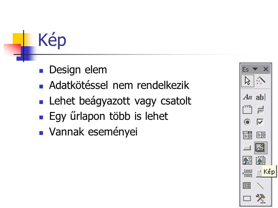 Kötetlen objektumkeret Kötetlen OLE objektumokat helyezhetünk el vele az űrlapon Például: Excel munkafüzet Word dokumentum Paint kép Stb.