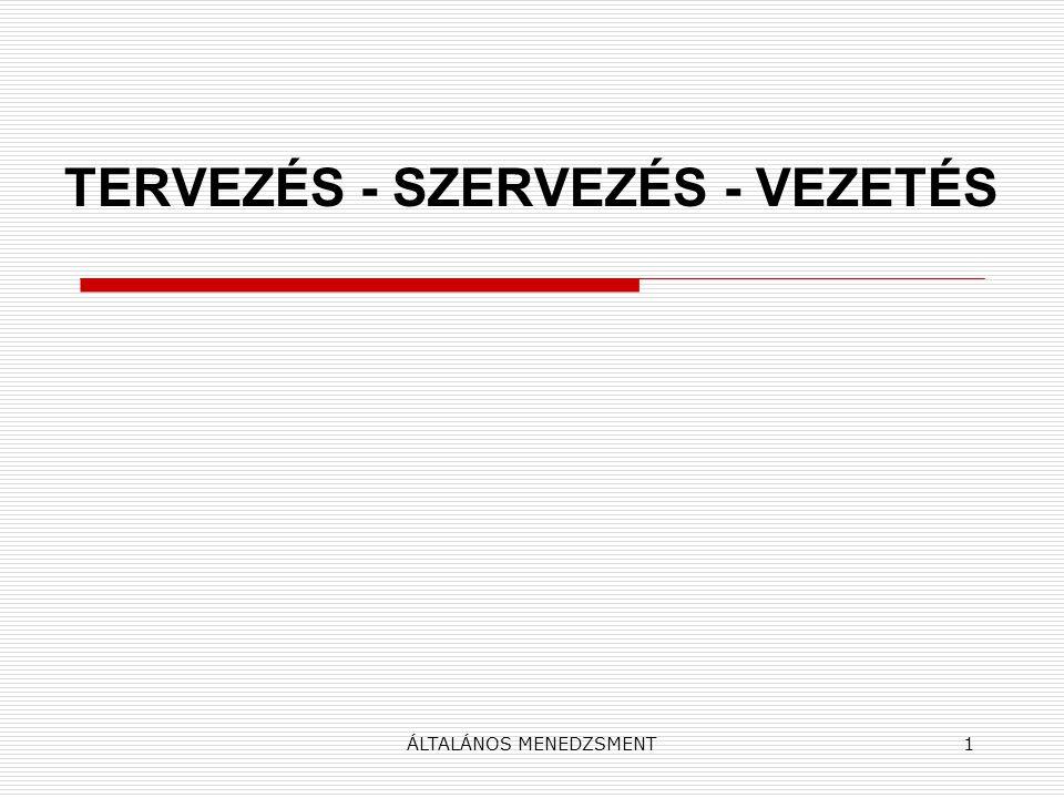 ÁLTALÁNOS MENEDZSMENT1 TERVEZÉS - SZERVEZÉS - VEZETÉS