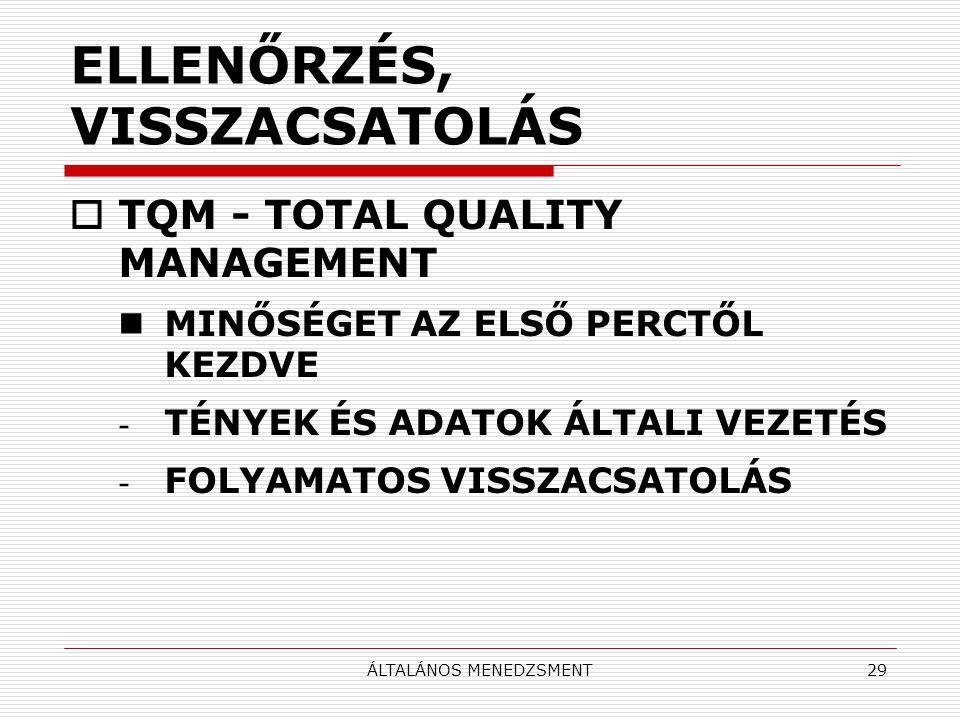 ÁLTALÁNOS MENEDZSMENT29 ELLENŐRZÉS, VISSZACSATOLÁS  TQM - TOTAL QUALITY MANAGEMENT MINŐSÉGET AZ ELSŐ PERCTŐL KEZDVE - TÉNYEK ÉS ADATOK ÁLTALI VEZETÉS - FOLYAMATOS VISSZACSATOLÁS