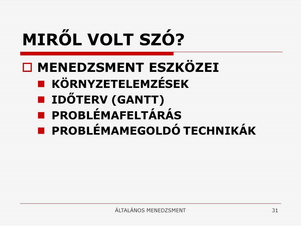 ÁLTALÁNOS MENEDZSMENT31 MIRŐL VOLT SZÓ.