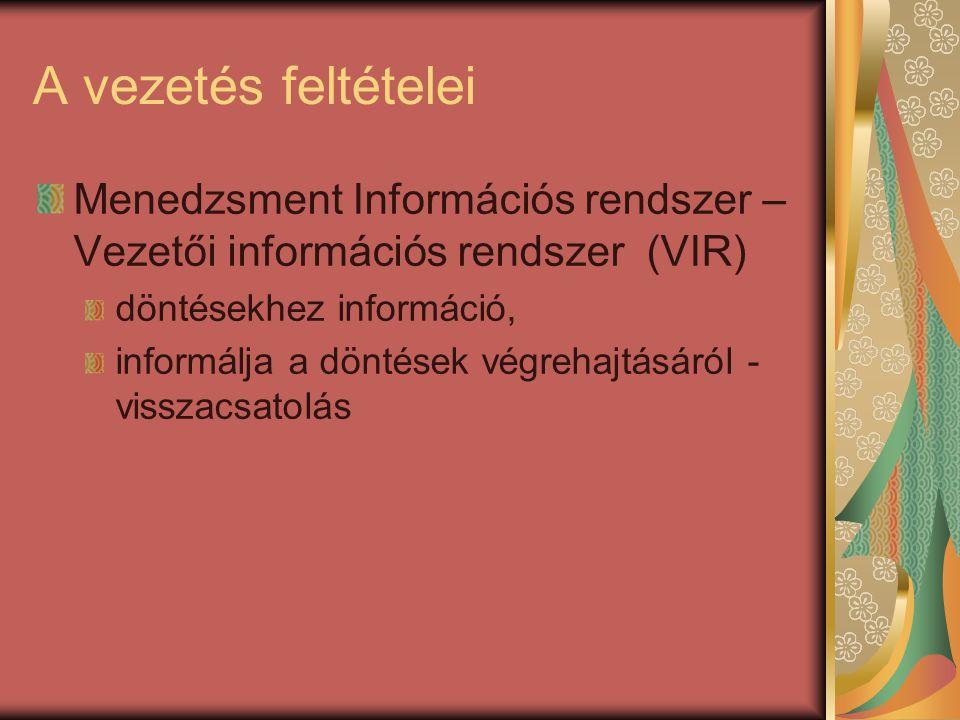 A vezetés feltételei Menedzsment Információs rendszer – Vezetői információs rendszer (VIR) döntésekhez információ, informálja a döntések végrehajtásár